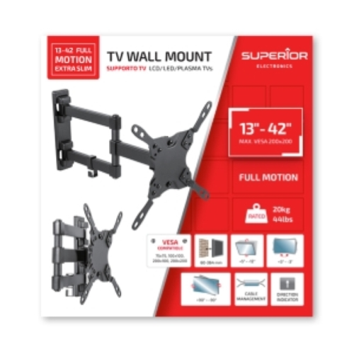 SUPPORTO TV IN ACCIAIO 13-42 FULL MOTION EXTRA SLIM - SUPERIOR
